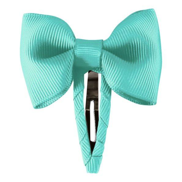 Small bowtie bow – snap clip – aqua