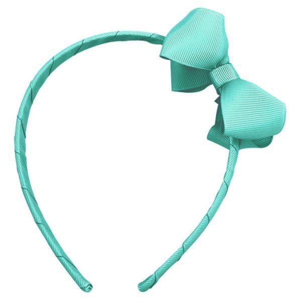 Medium boutique bow – hairband – aqua
