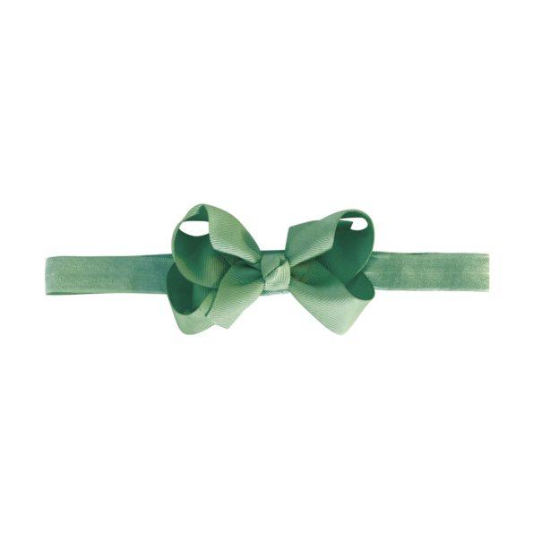 Medium boutique bow – elastic hairband – celadon