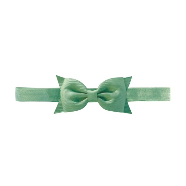 Milledeux double Bowtie bow – elastic hairband – celadon