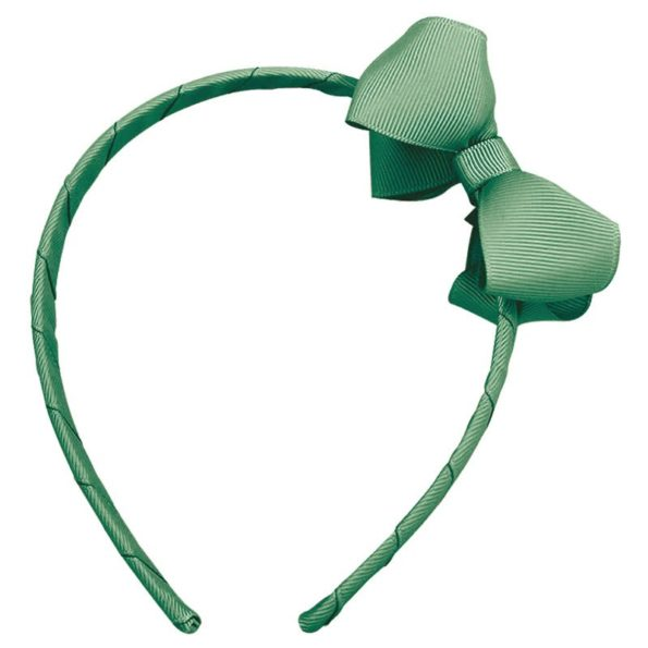 Medium boutique bow – hairband – celadon