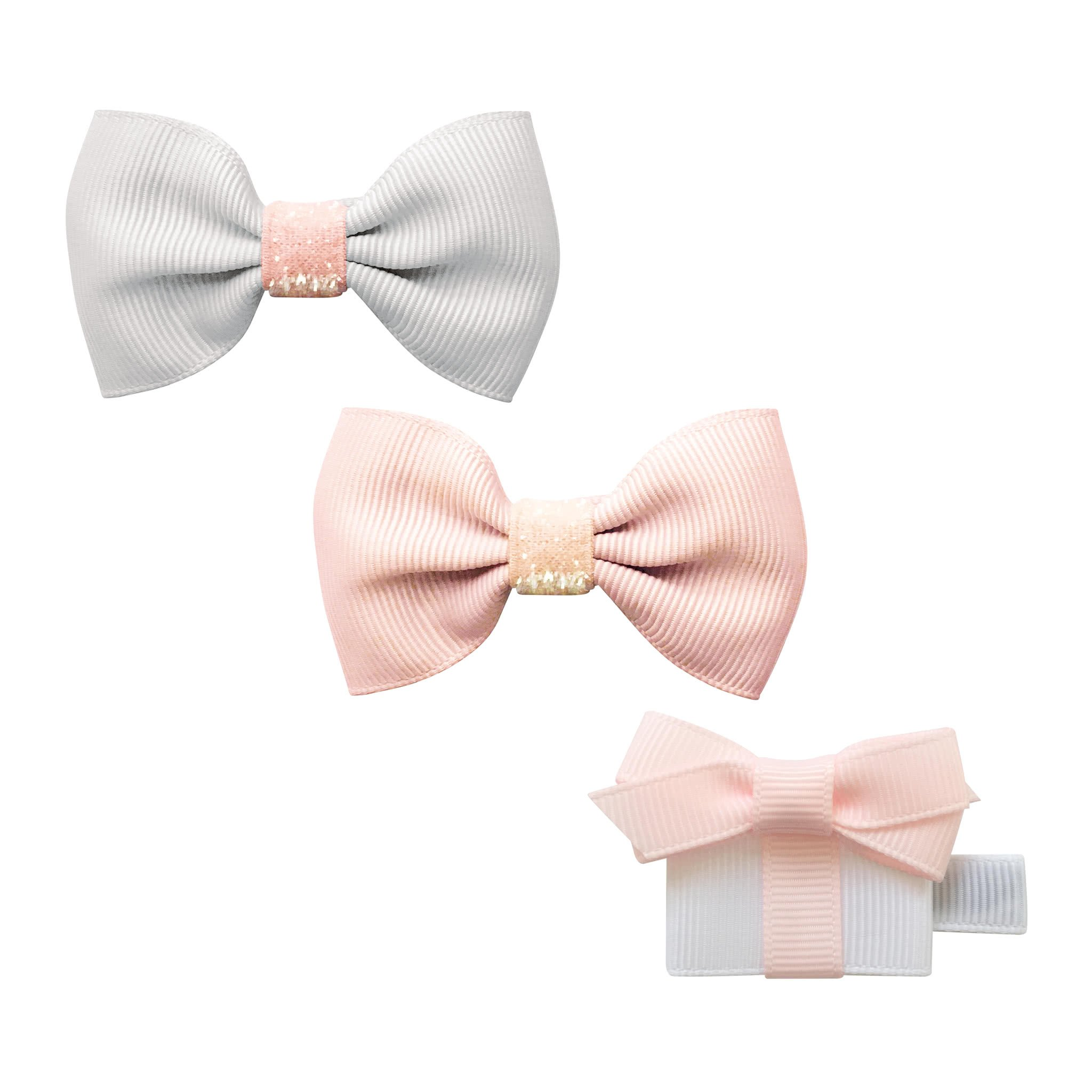 Image of Milledeux® Babys first Christmas gift set - 2 bows and a gift - Powder pink