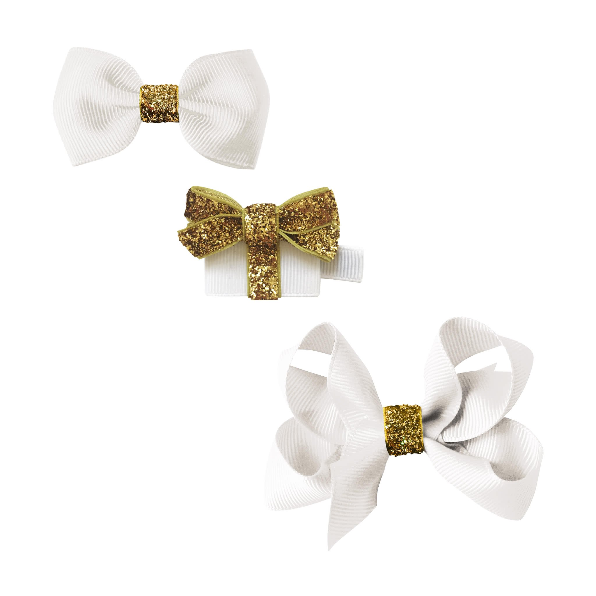 Image of Milledeux® Classic Christmas gift set - a Gift and 2 bows - White / gold