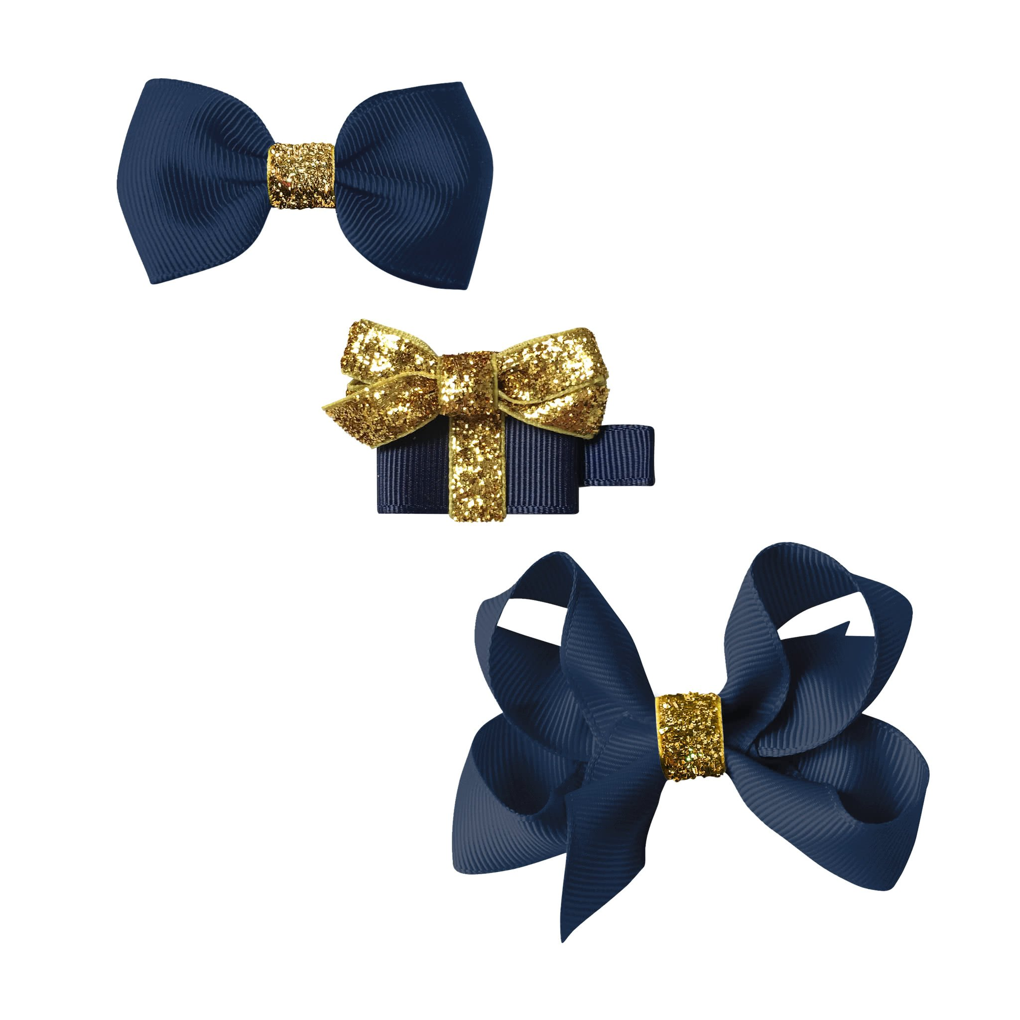 Image of Milledeux® Classic Christmas gift set - a Gift and 2 bows - navy / gold