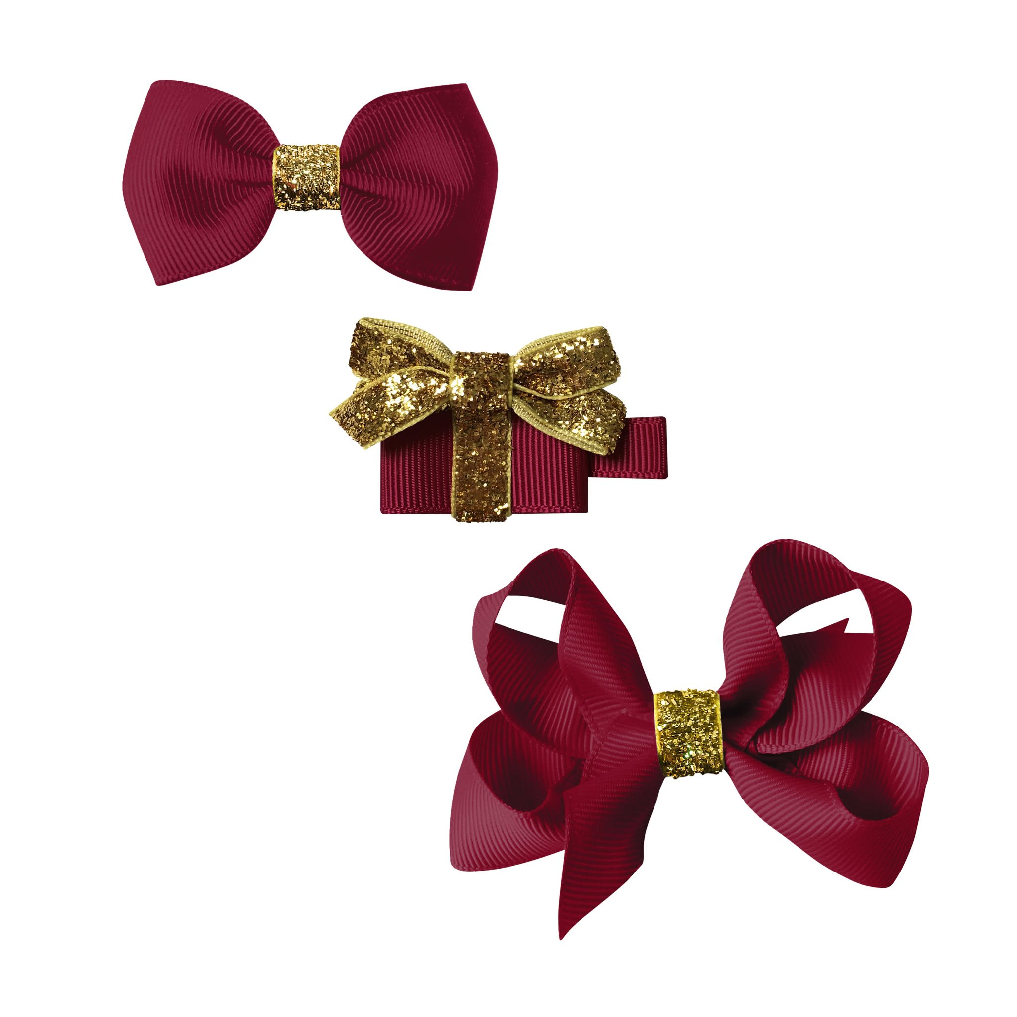 Image of Milledeux® Classic Christmas gift set - a Gift and 2 bows - wine / gold