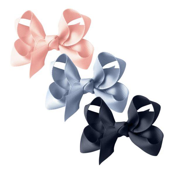 Milledeux® gift set – Grosgrain Collection – 3 Medium boutique bows – pink / blue