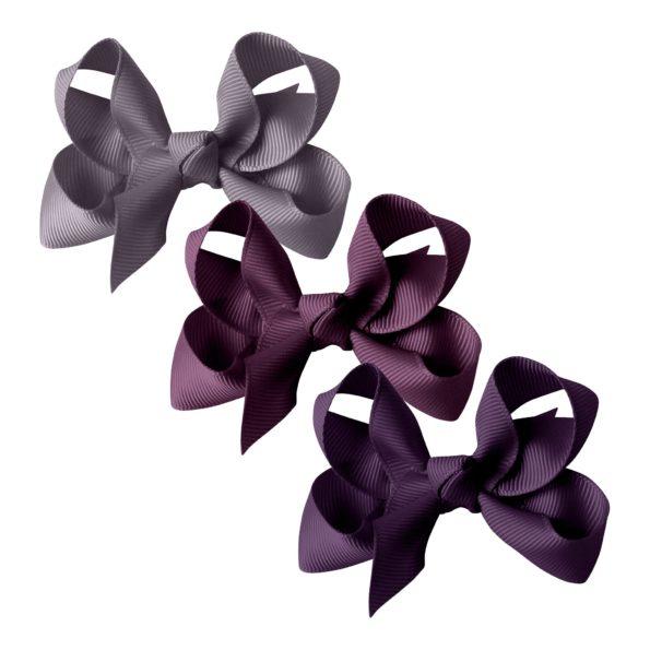 Milledeux® gift set – Grosgrain Collection – 3 Medium boutique bows – purple