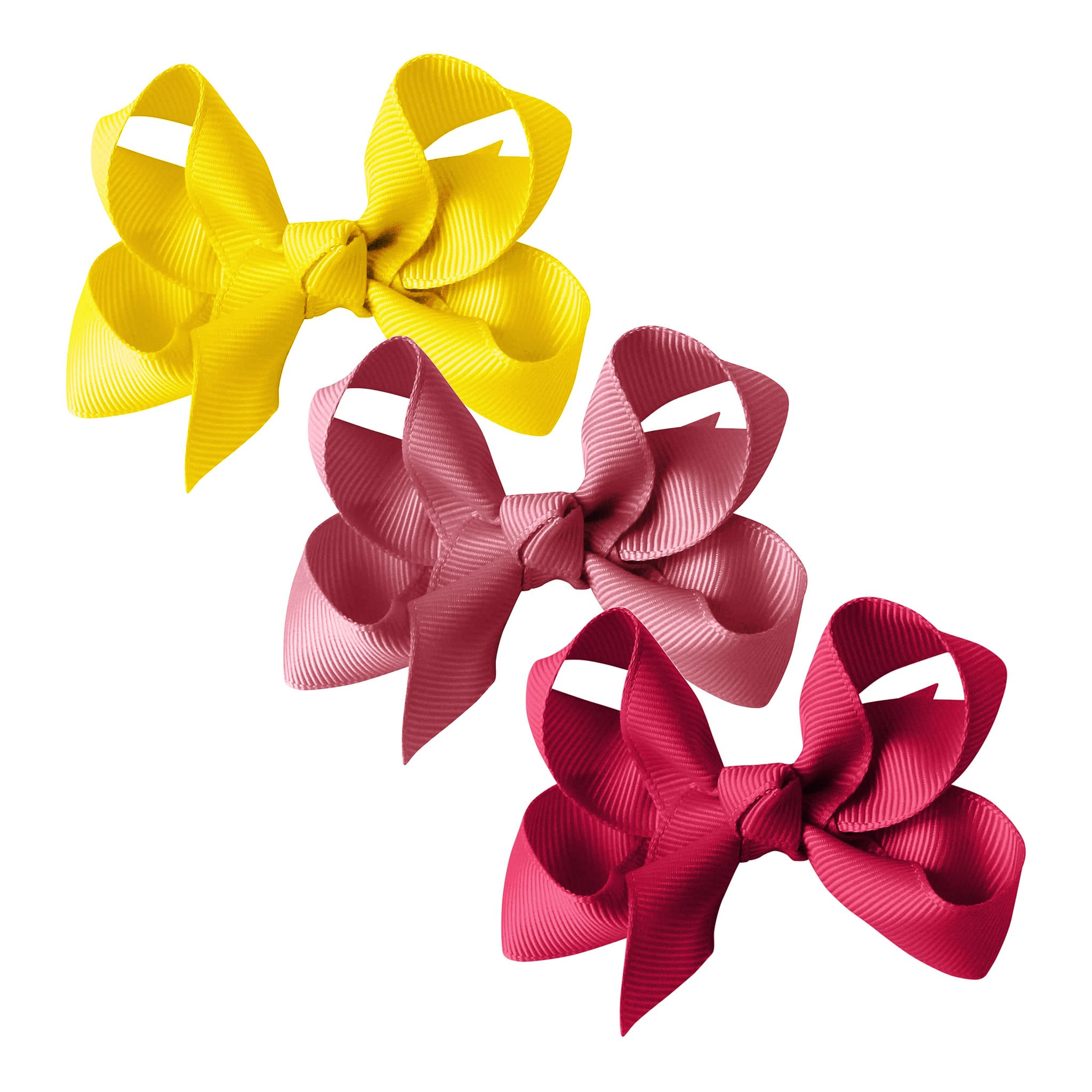 Image of Milledeux® gift set - Grosgrain Collection - 3 Medium boutique bows - yellow/pink