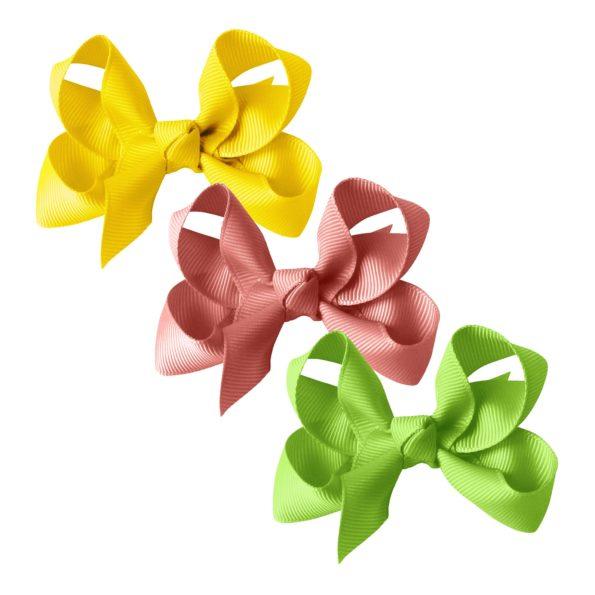 Milledeux® gift set – Grosgrain Collection – 3 Medium boutique bows – yellow/rose/green
