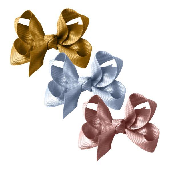 Milledeux® gift set – Grosgrain Collection – 3 Medium boutique bows – dijon/blue/mauve