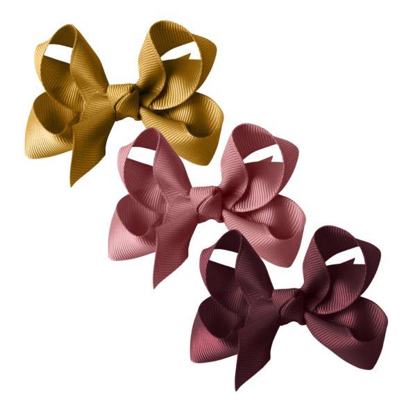 Milledeux® gift set – Grosgrain Collection – 3 Medium boutique bows – dijon/mauve/burgundy