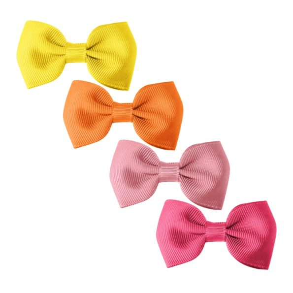 Milledeux® Gift set – 4 Small bowtie bows – alligator clip – yellow/pinks