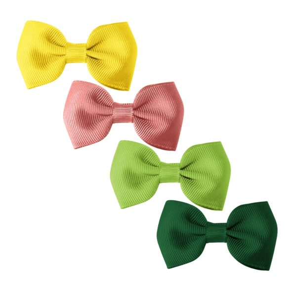 Milledeux® Gift set – 4 Small bowtie bows – alligator clip – yellow/rose/green