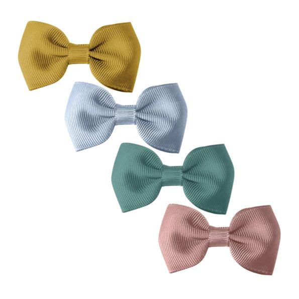 Milledeux® Gift set – 4 Small bowtie bows – alligator clip – dijon/blue/mauve