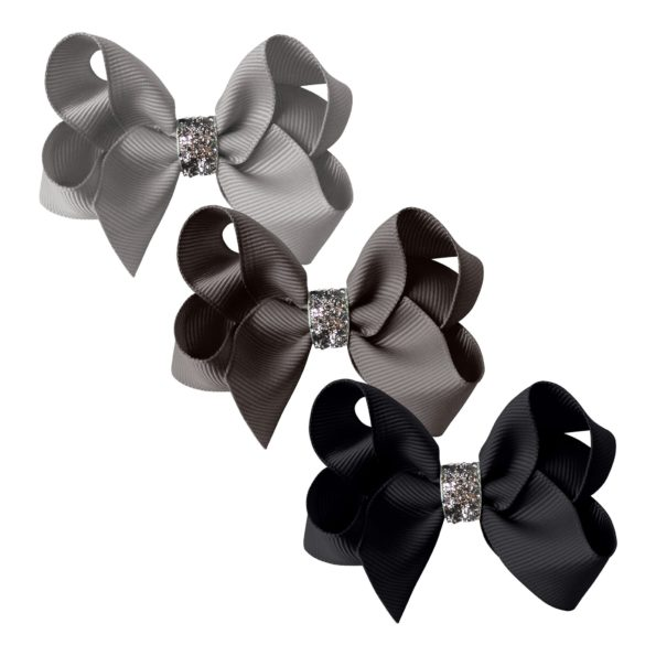 Milledeux® gift set – Glitter Collection – 3 Medium boutique bows – grey/black