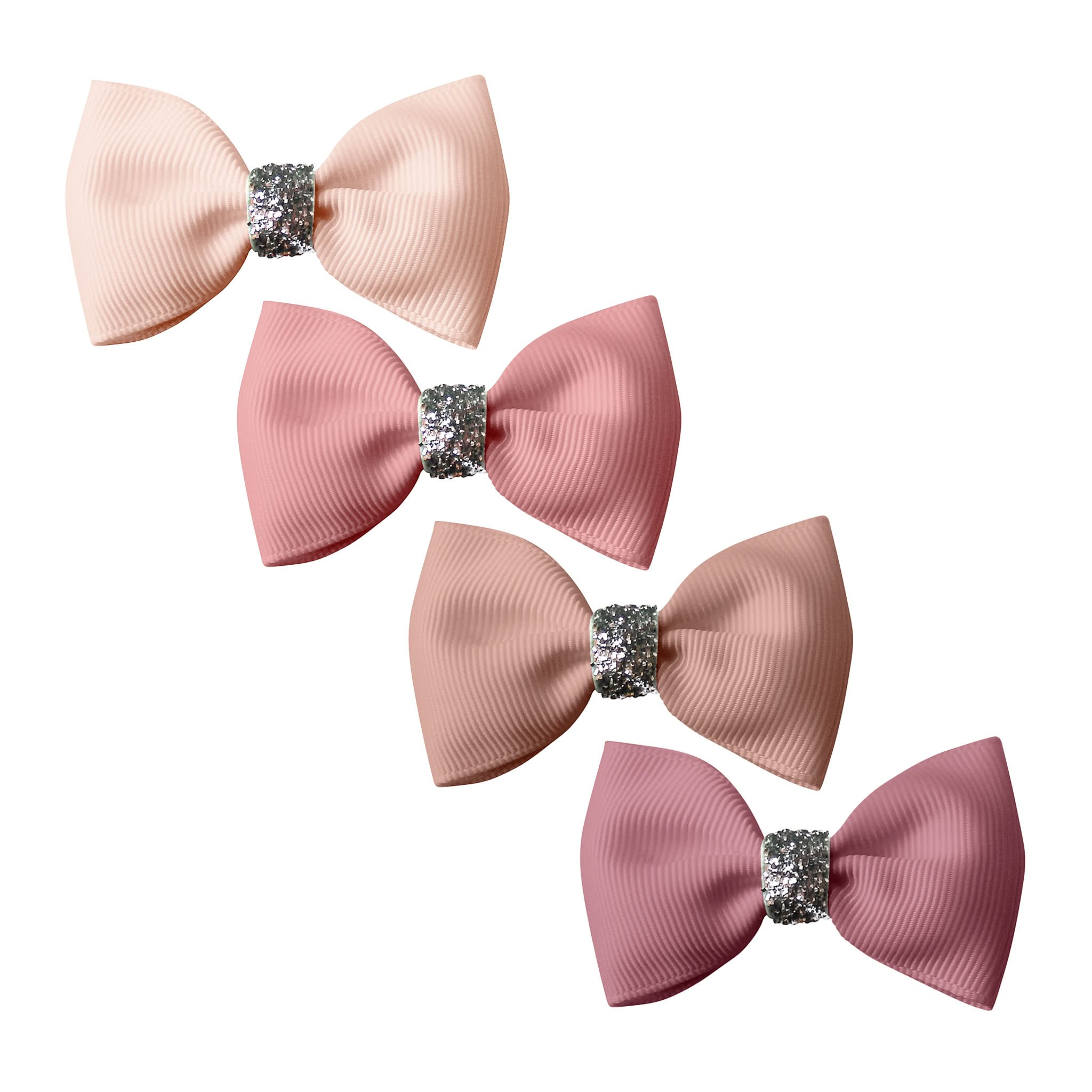 Image of Milledeux® Gift set - 4 Small bowtie bows - alligator clip - Pinks