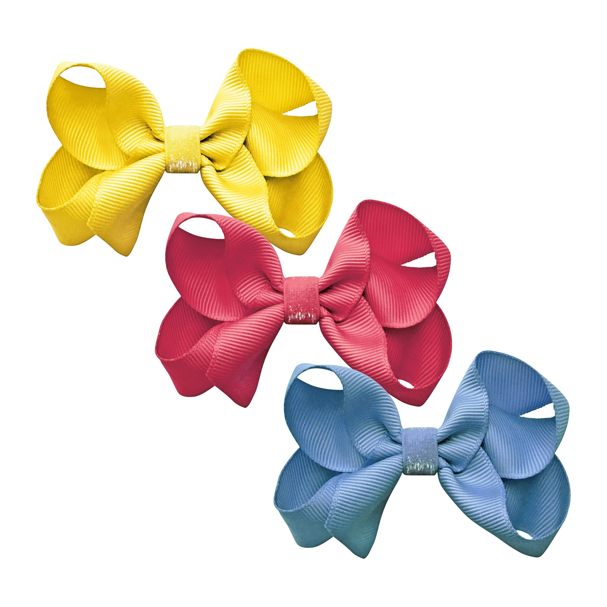 Image of Milledeux® gift set - Colored Glitter Collection - 3 Medium boutique bows - yellow/pink/blue