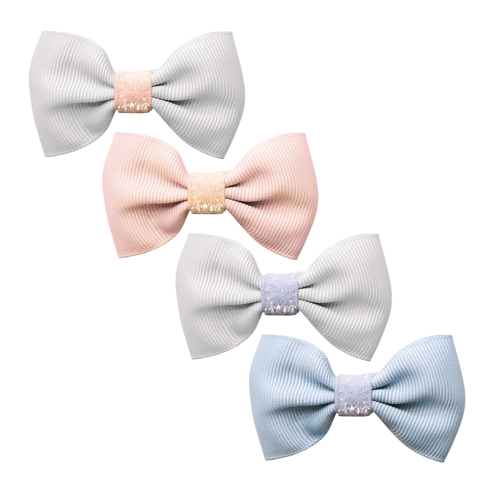 Image of Milledeux® Gift set - 4 Small bowtie bows - alligator clip - Colored Glitter - pink/blue