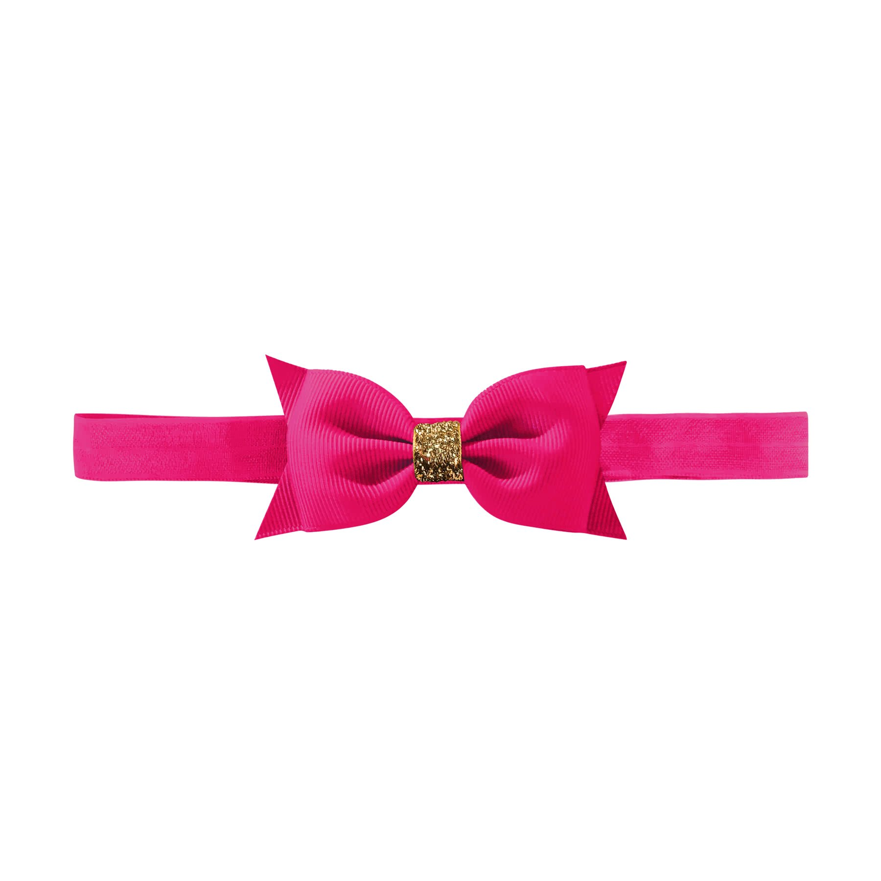 Image of Milledeux® Double Bowtie Bow - elastic hairband - azalea /gold glitter
