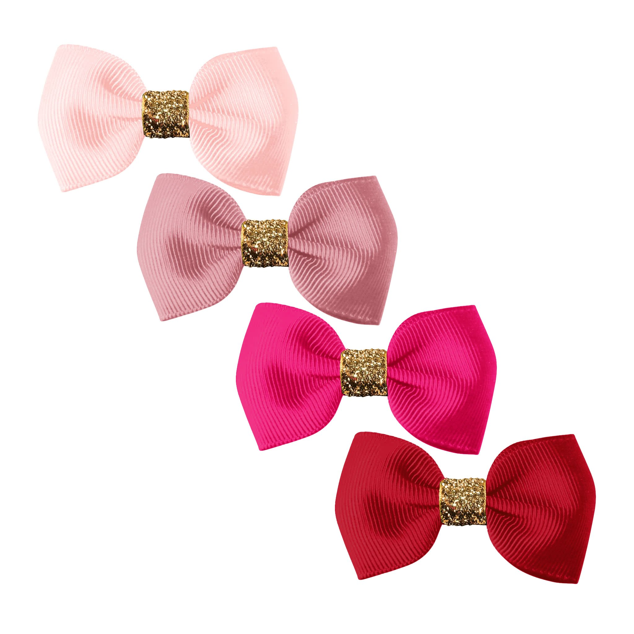 Image of Milledeux® Gift set - Gold Glitter Collection - 4 Small bowtie bows - alligator clip - Pinks