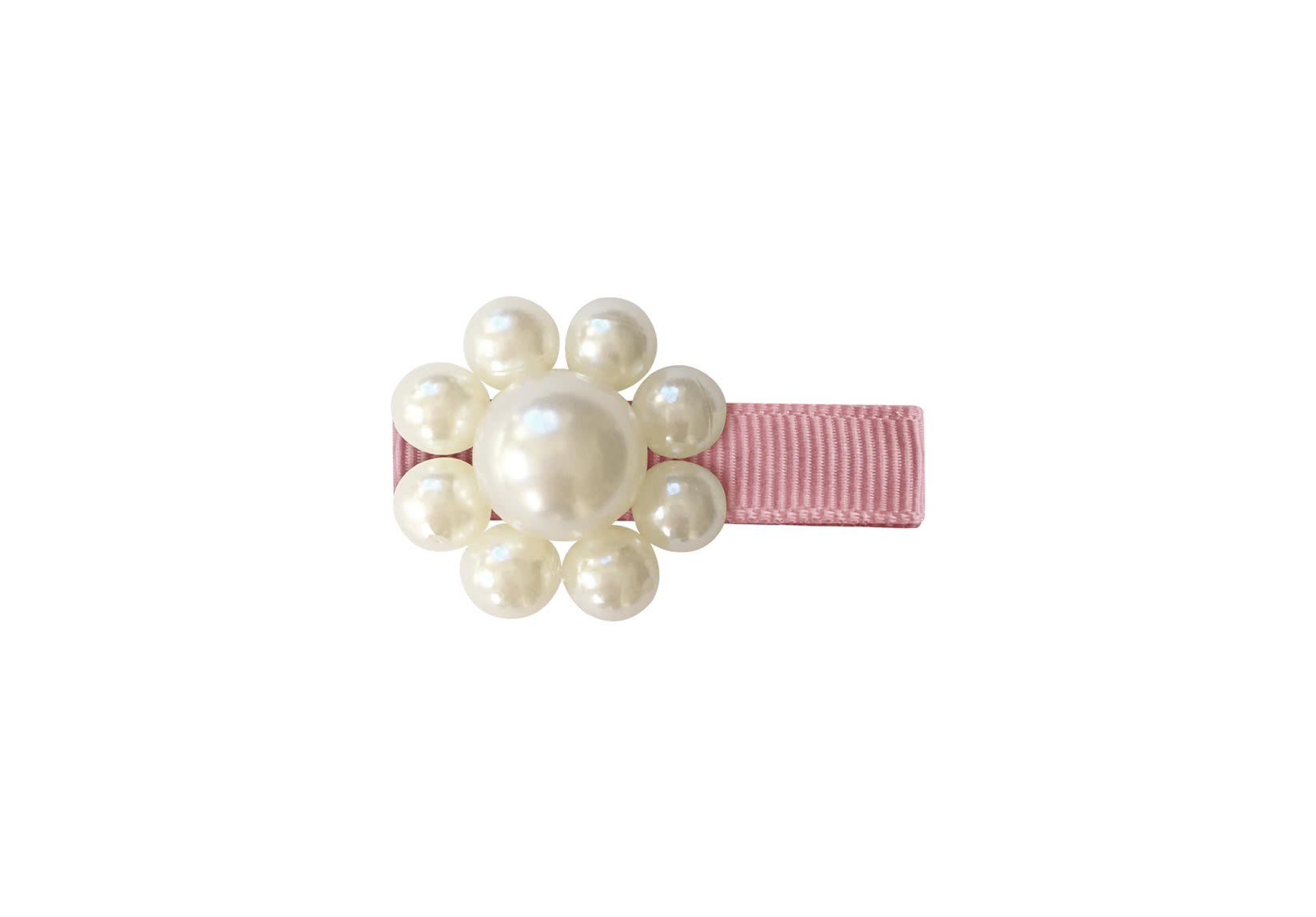 Pearl Flower – Grosgrain Alligator Clip