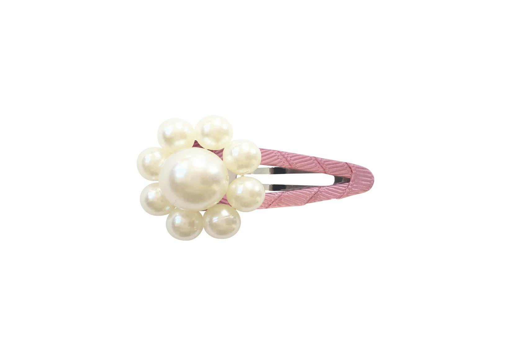Pearl Flower – Grosgrain Snap Clip