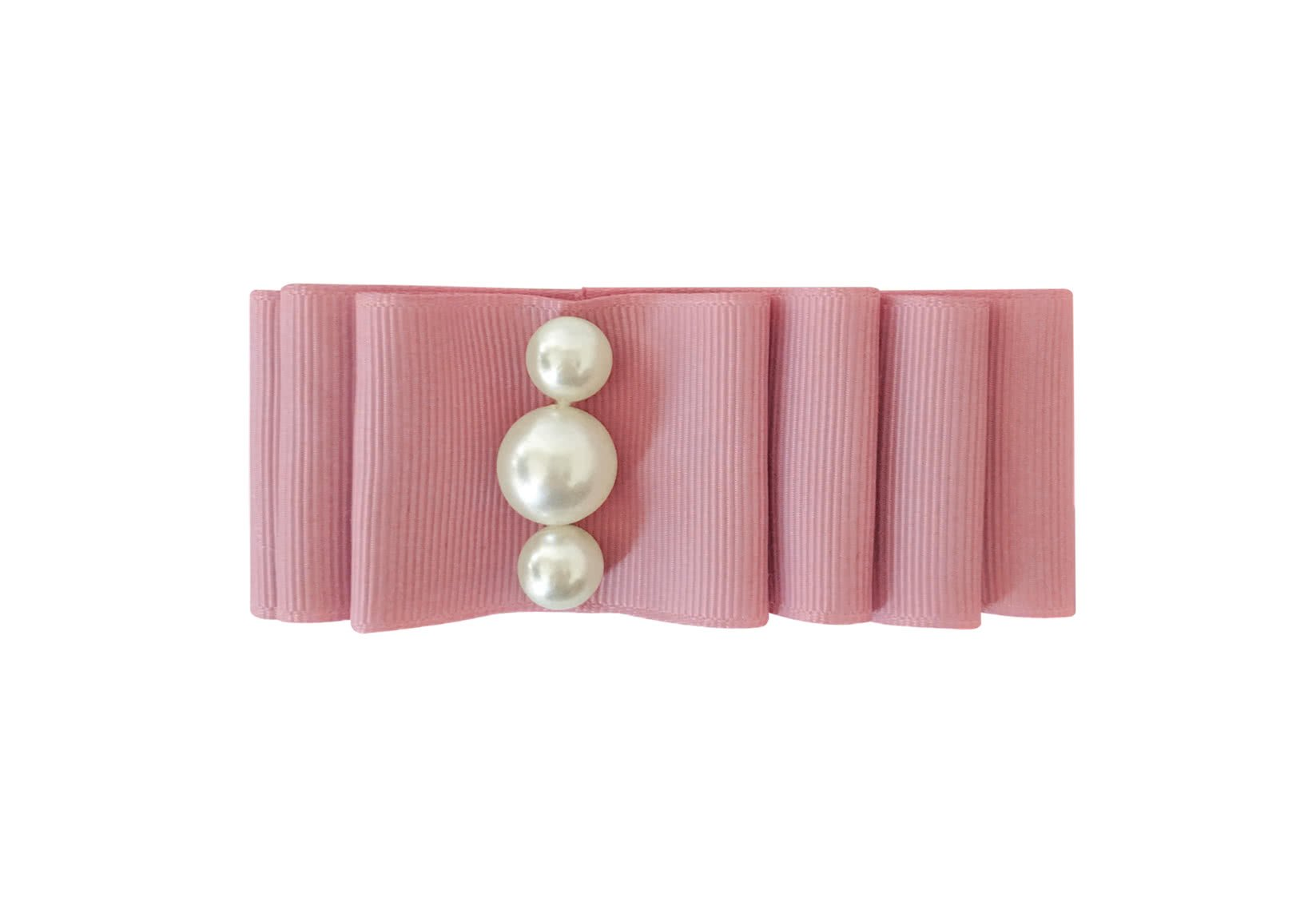 Large Layered Bow with Pearls – Alligator Clip