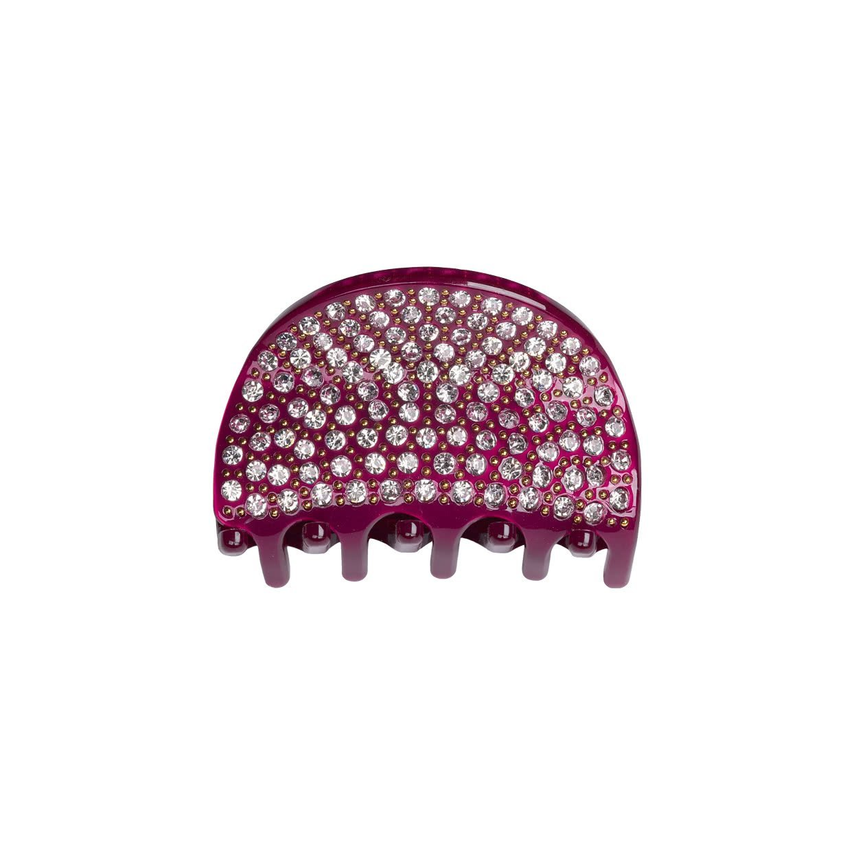 Image of Small Hair Claw with crystals - burgundy