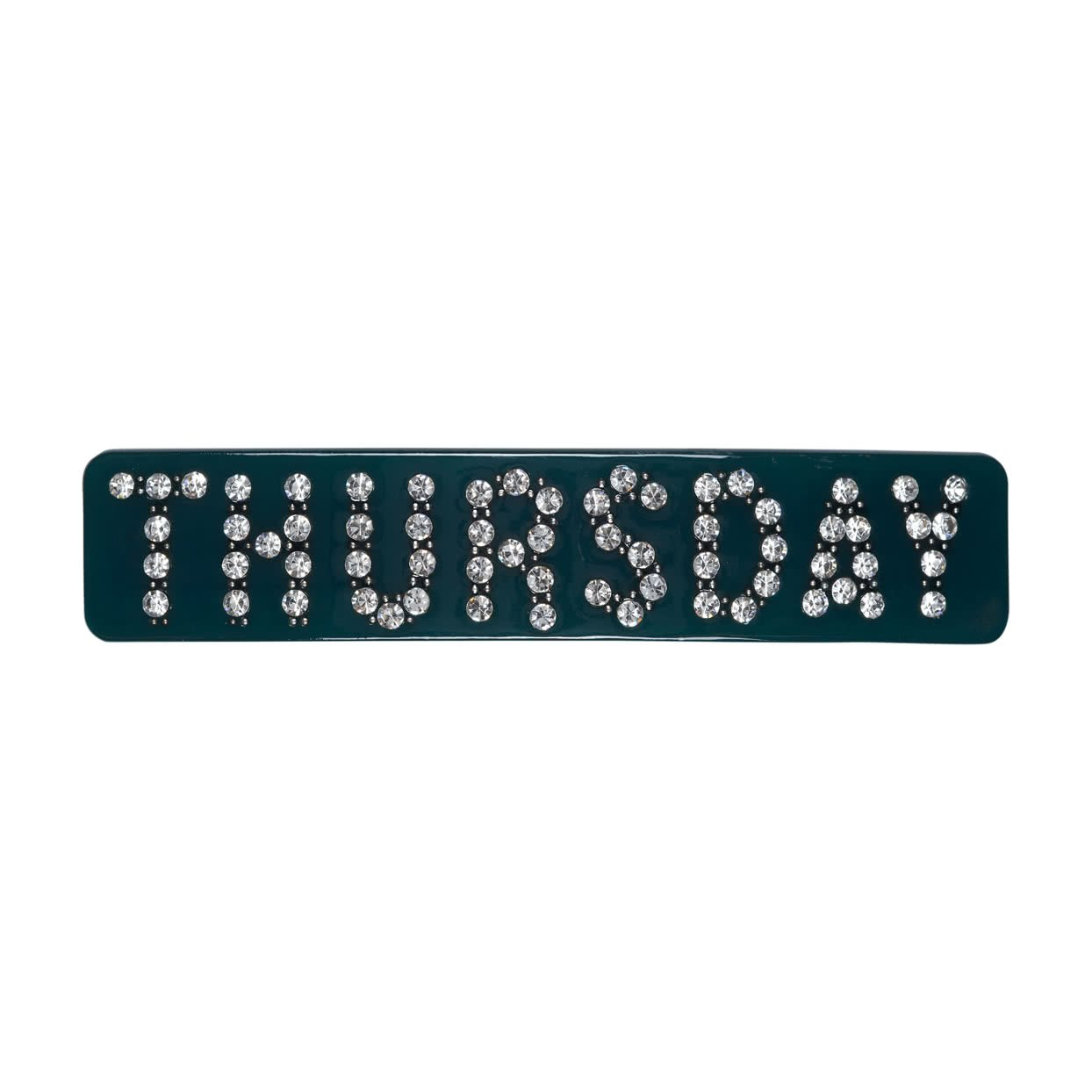 Image of Hair Barrette with crystals - Dark Green / Thursday