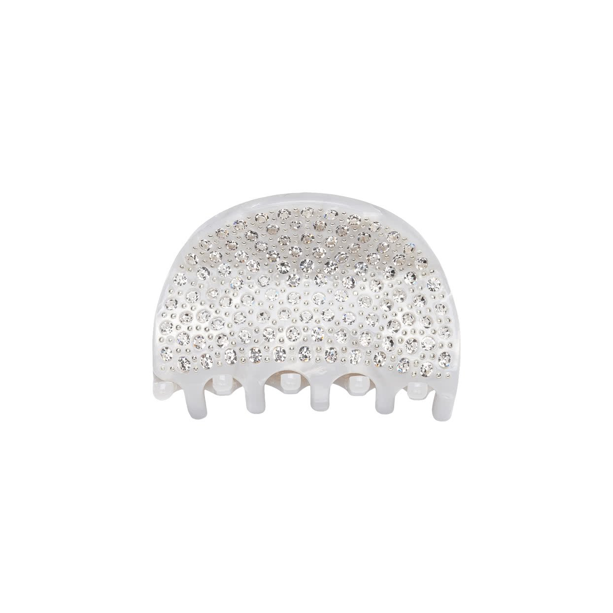 Image of Small Hair Claw with crystals - white