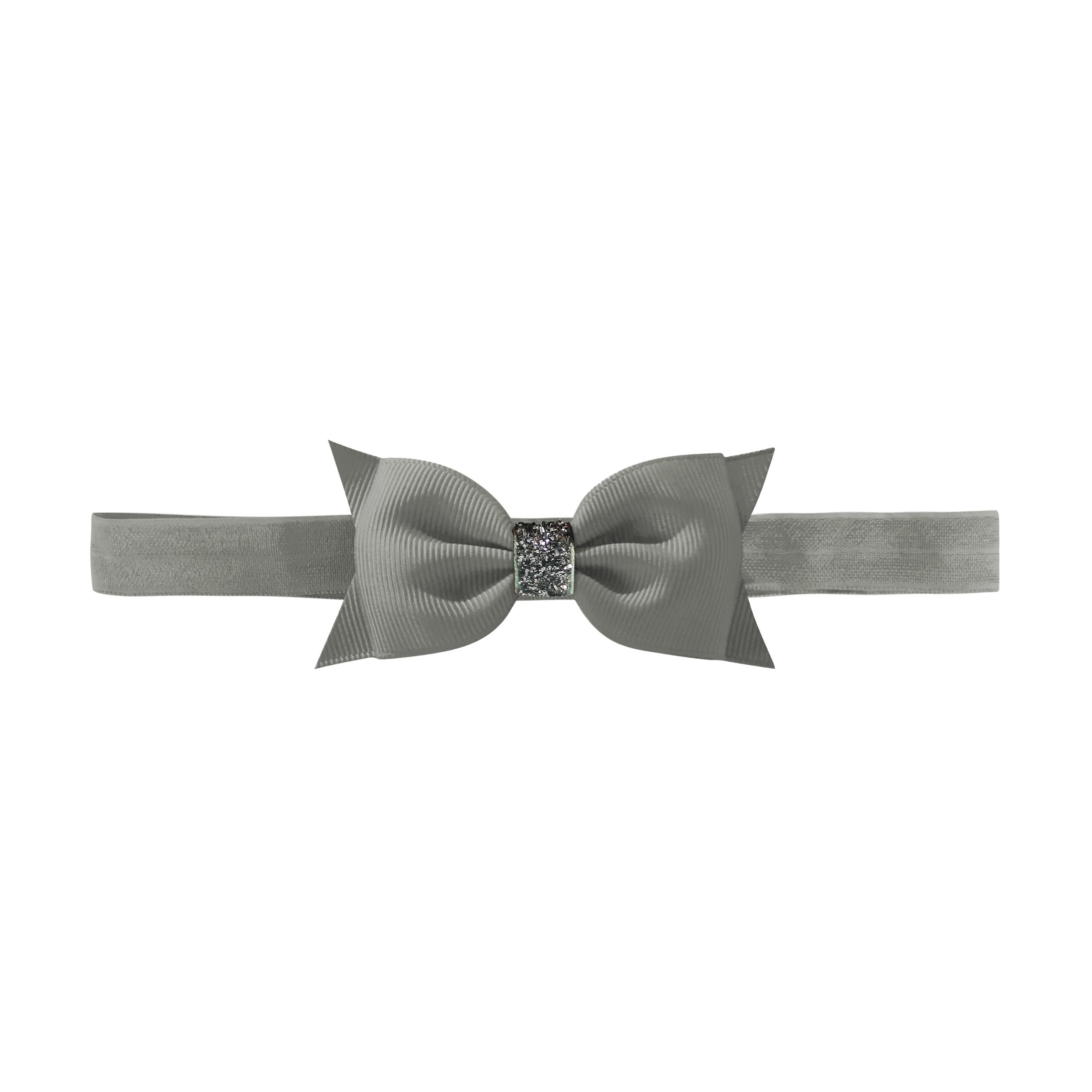 Image of   Double Bowtie bow - elastic hairband - metal grey glitter