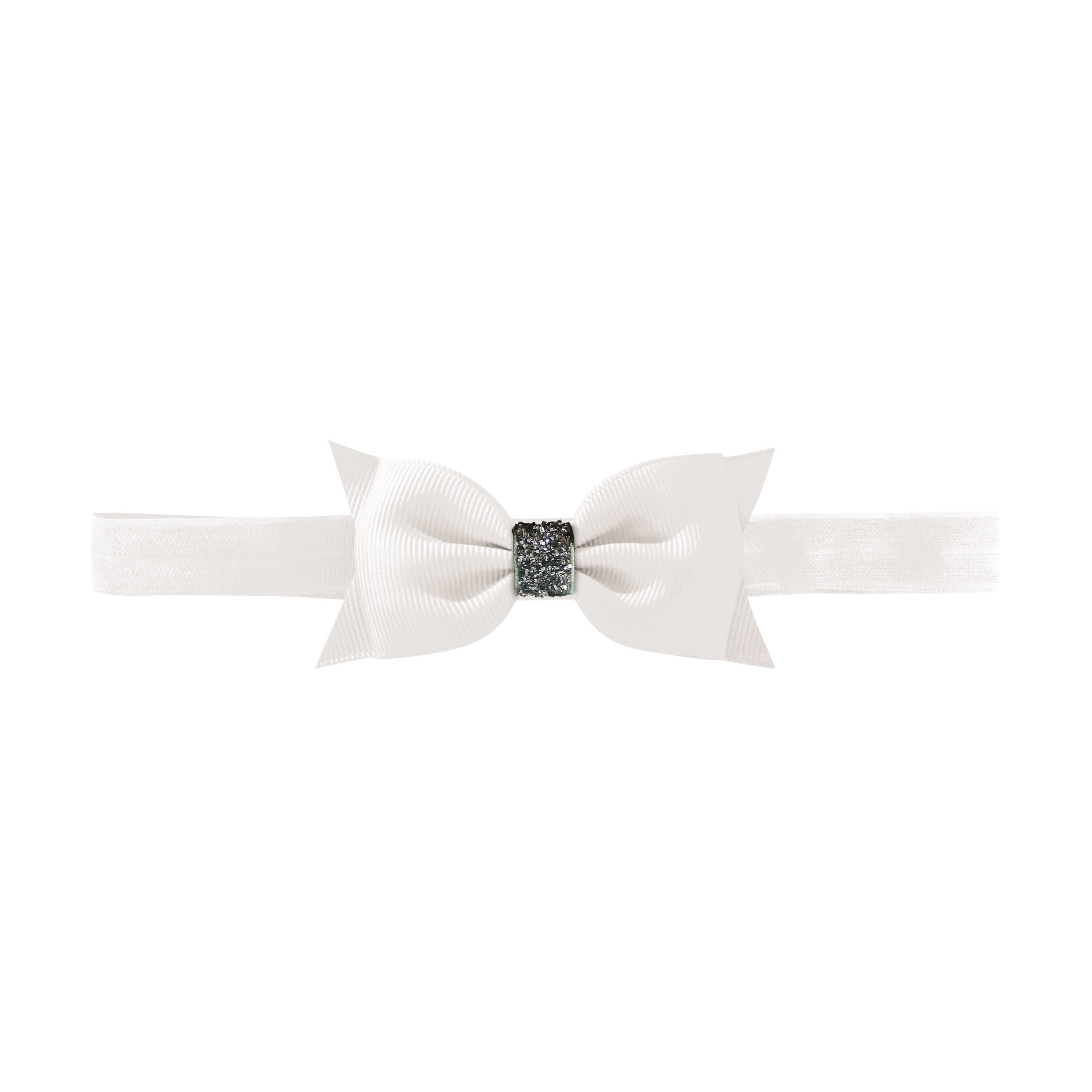 Image of   Double Bowtie bow - elastic hairband - white glitter