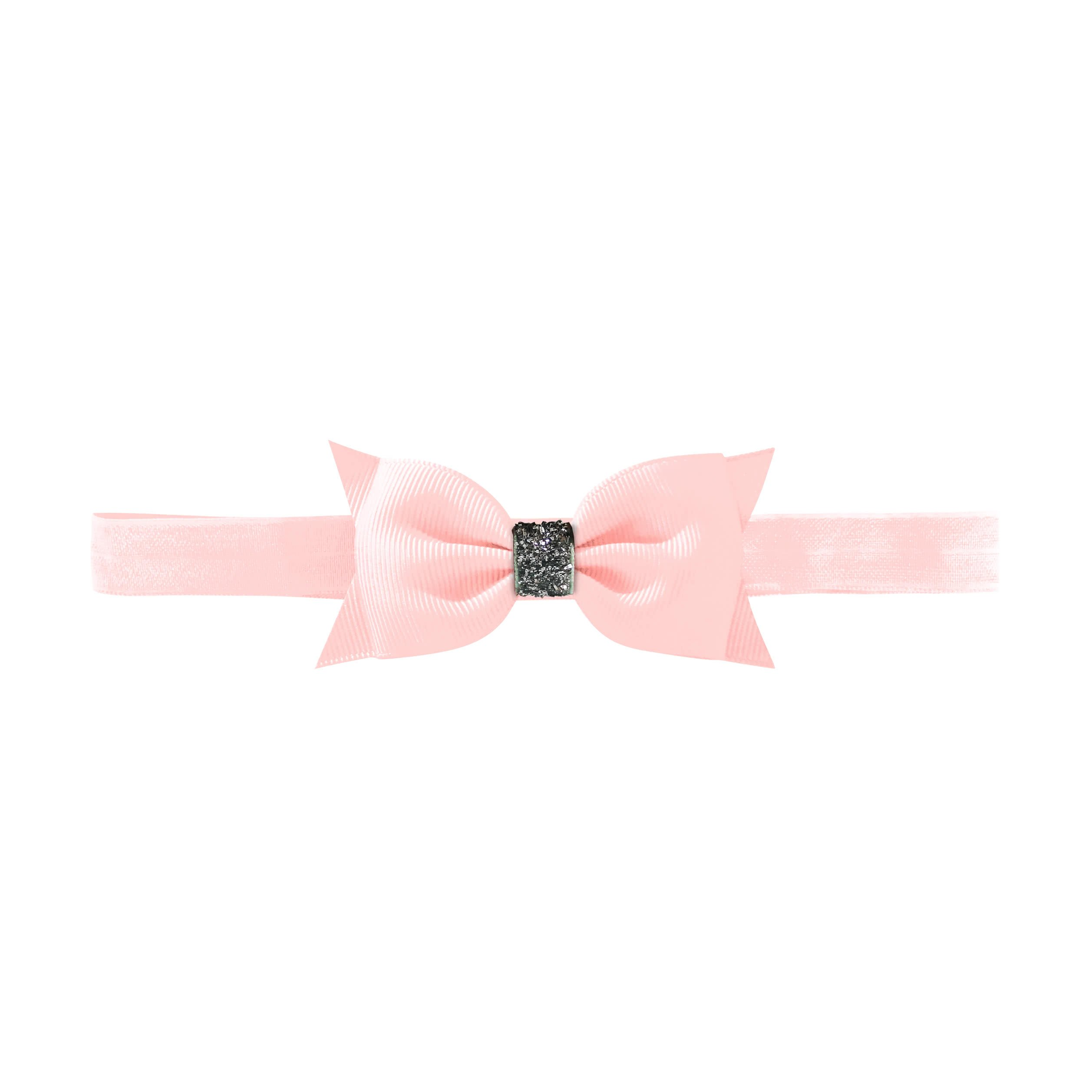 Image of   Double Bowtie bow - elastic hairband - powder pink glitter