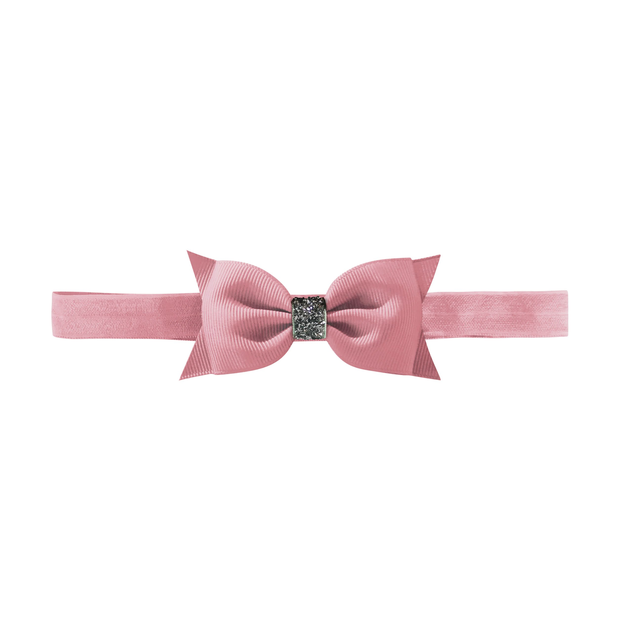 Image of   Double Bowtie bow - elastic hairband - quartz glitter