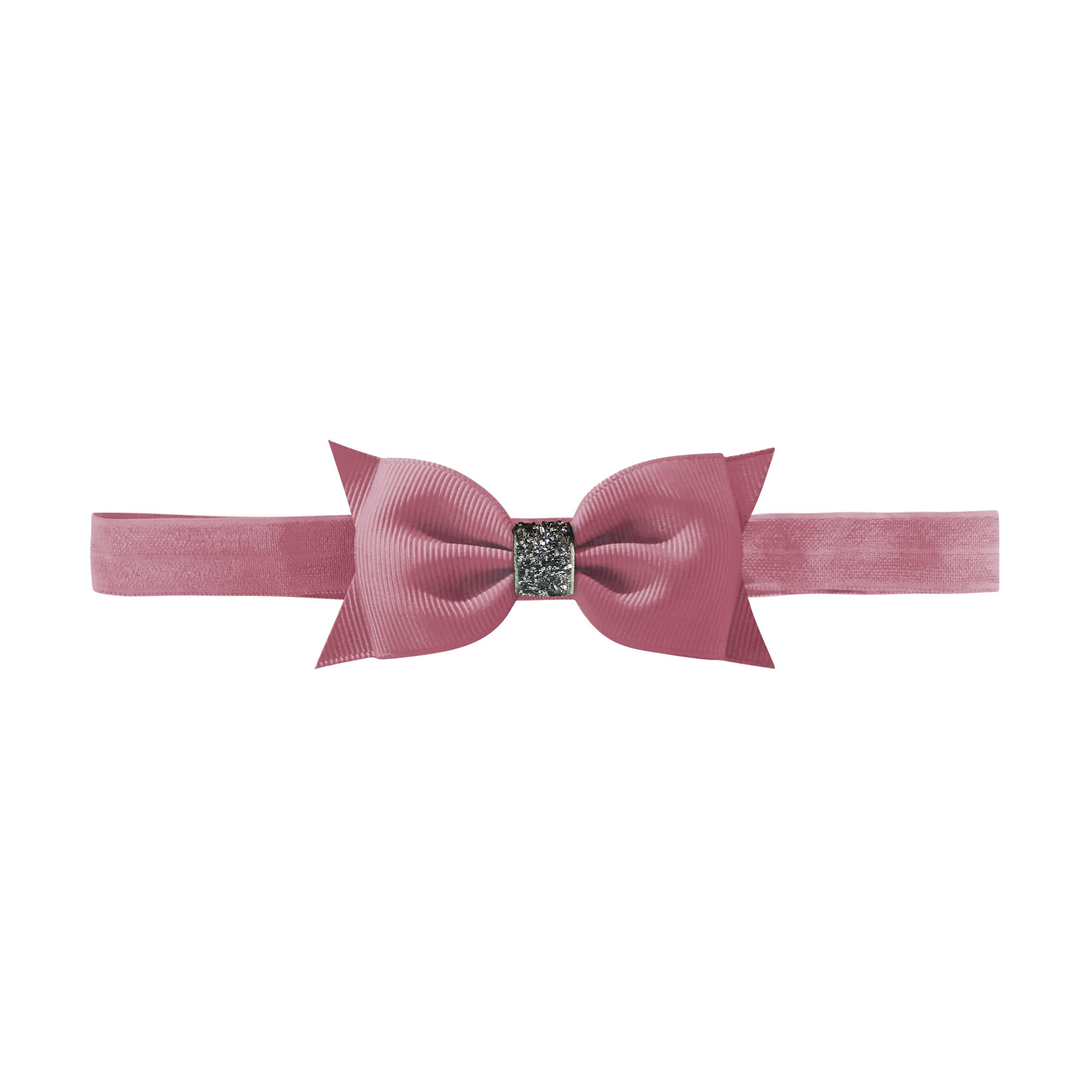 Image of   Double Bowtie bow - elastic hairband - rosy mauve glitter