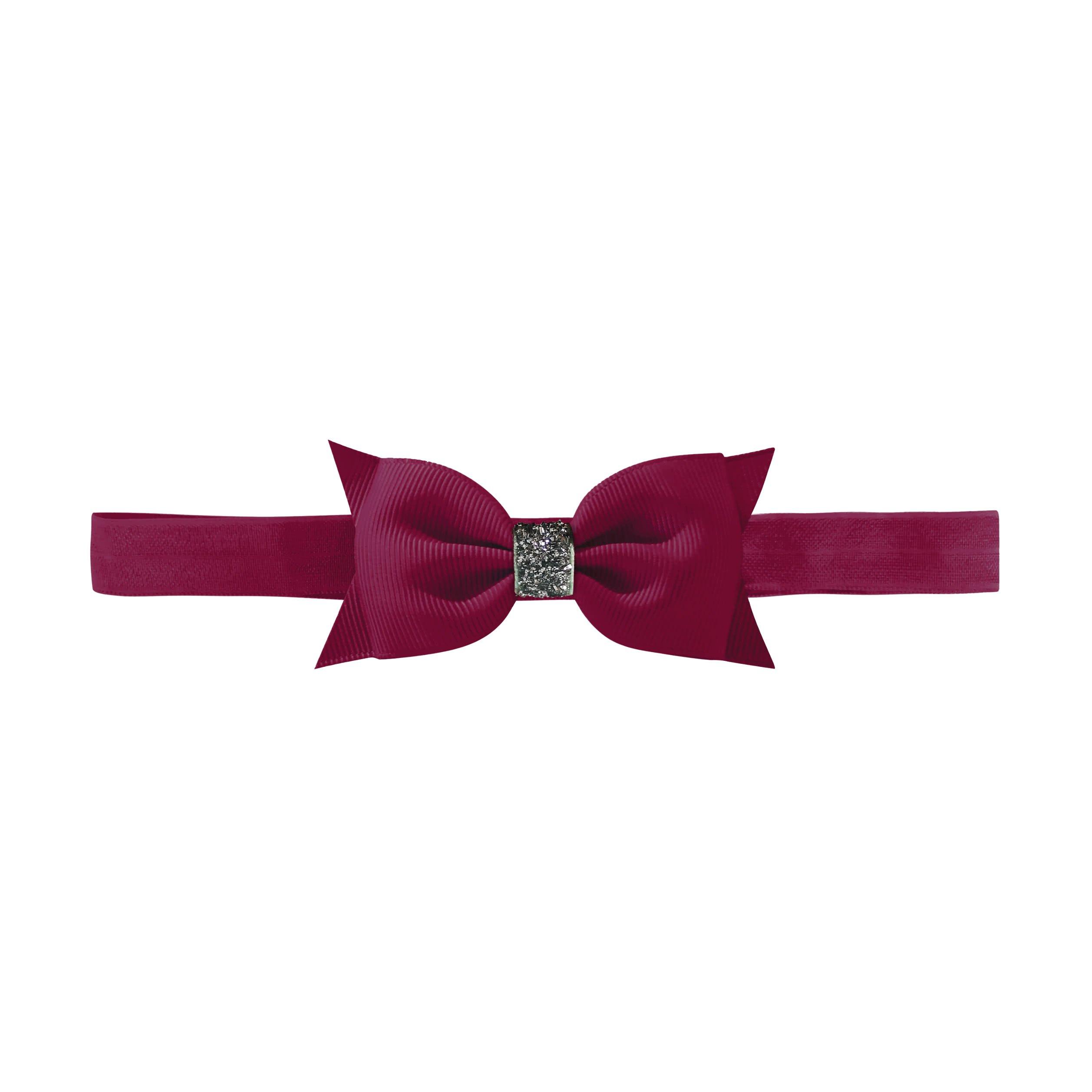 Image of Milledeux® double Bowtie bow - elastic hairband - wine glitter
