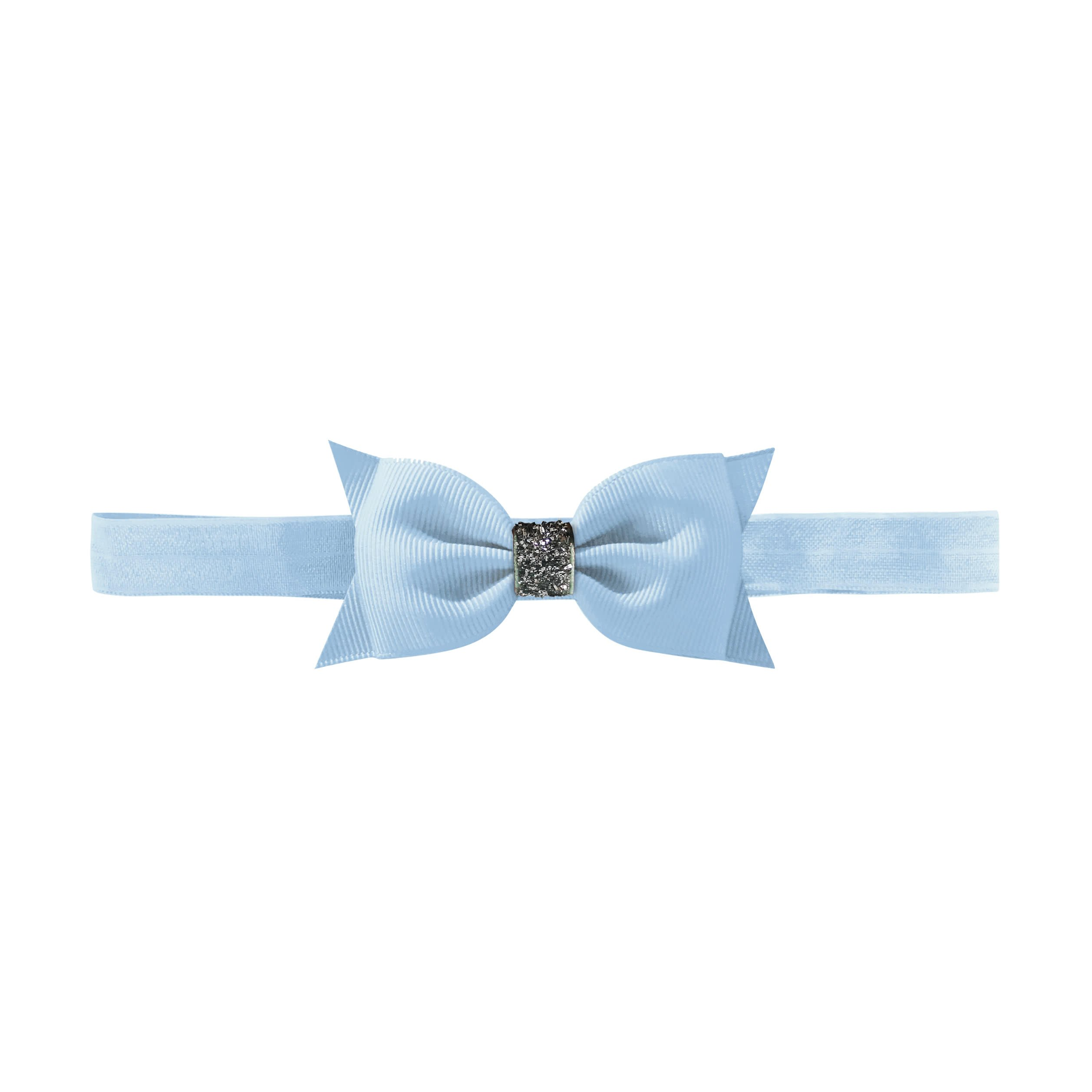 Image of   Double Bowtie bow - elastic hairband - bluebell glitter