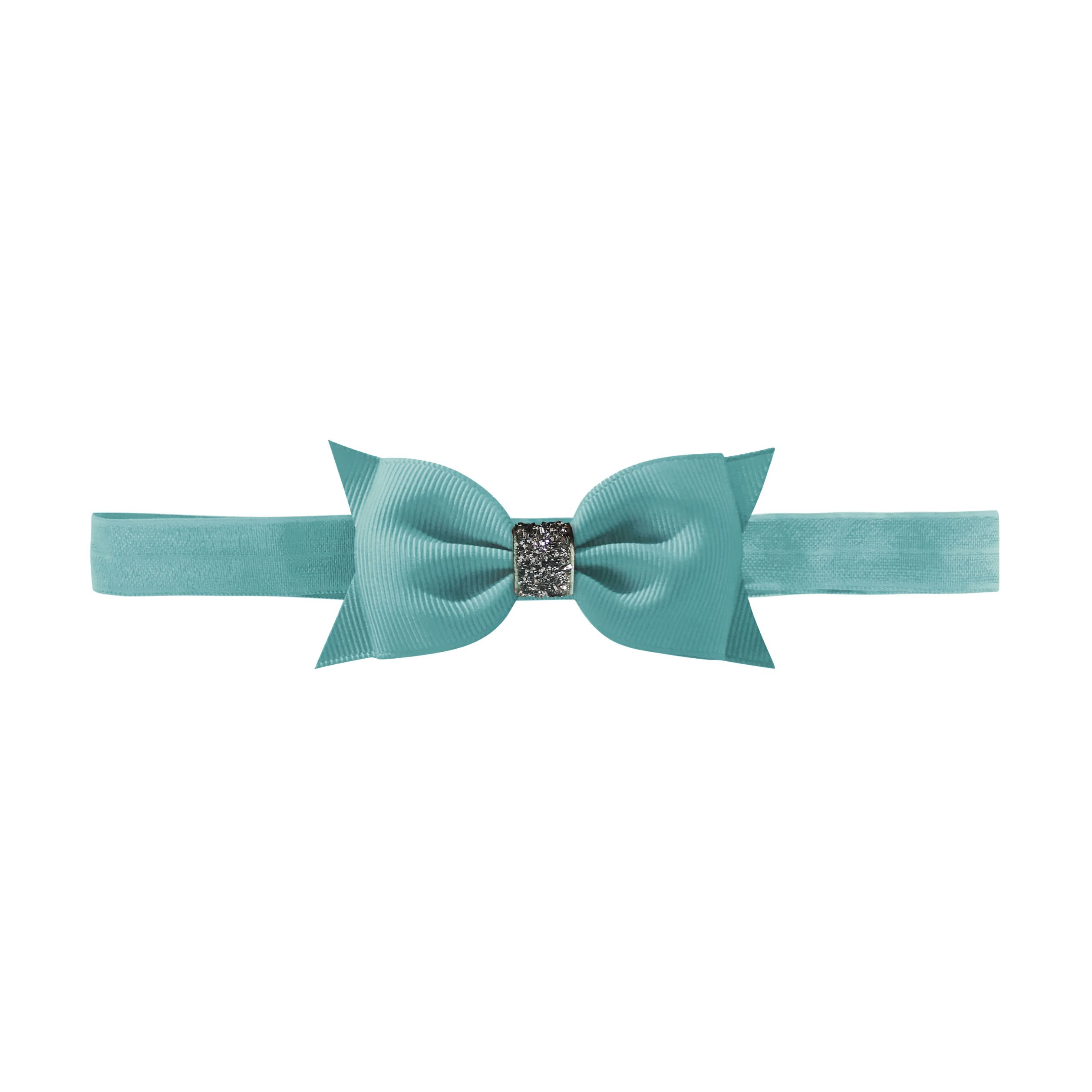 Image of   Double Bowtie bow - elastic hairband - nile blue glitter