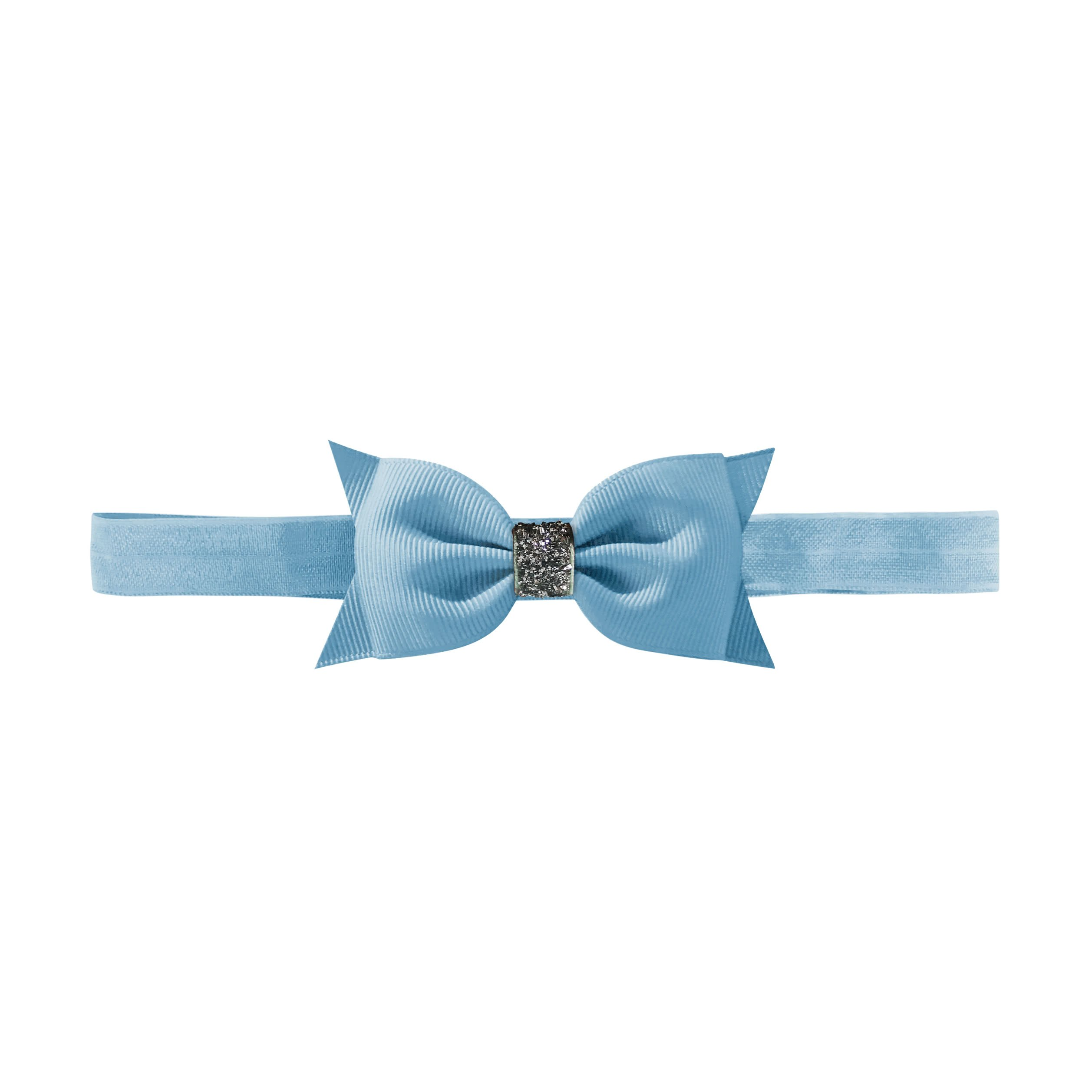 Image of   Double Bowtie bow - elastic hairband - french blue glitter