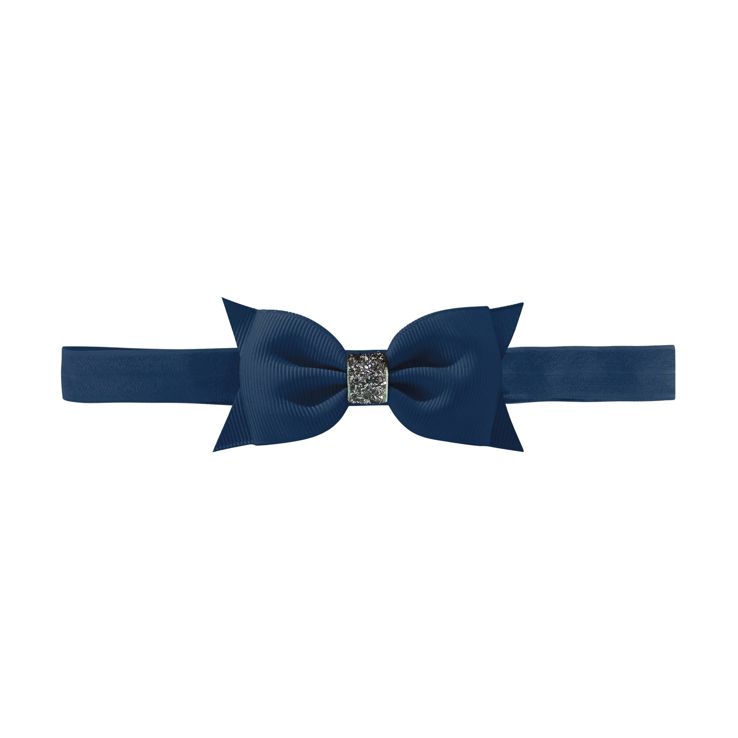 Image of   Double Bowtie bow - elastic hairband - navy glitter