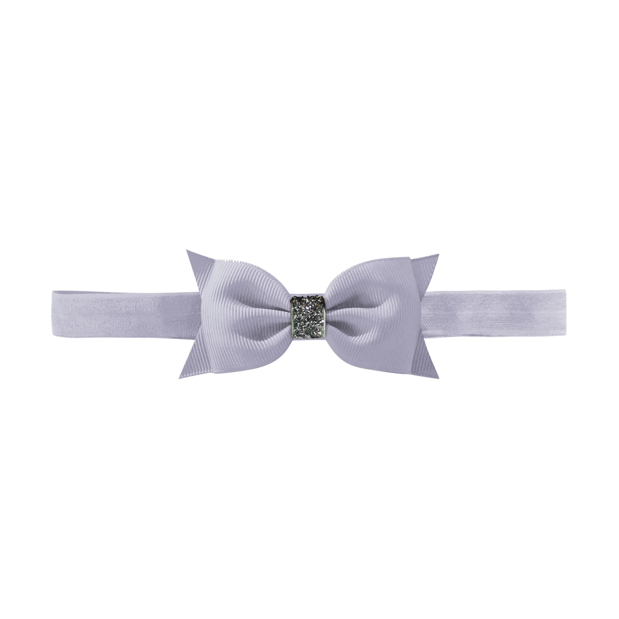 Image of   Double Bowtie bow - elastic hairband - thistle glitter