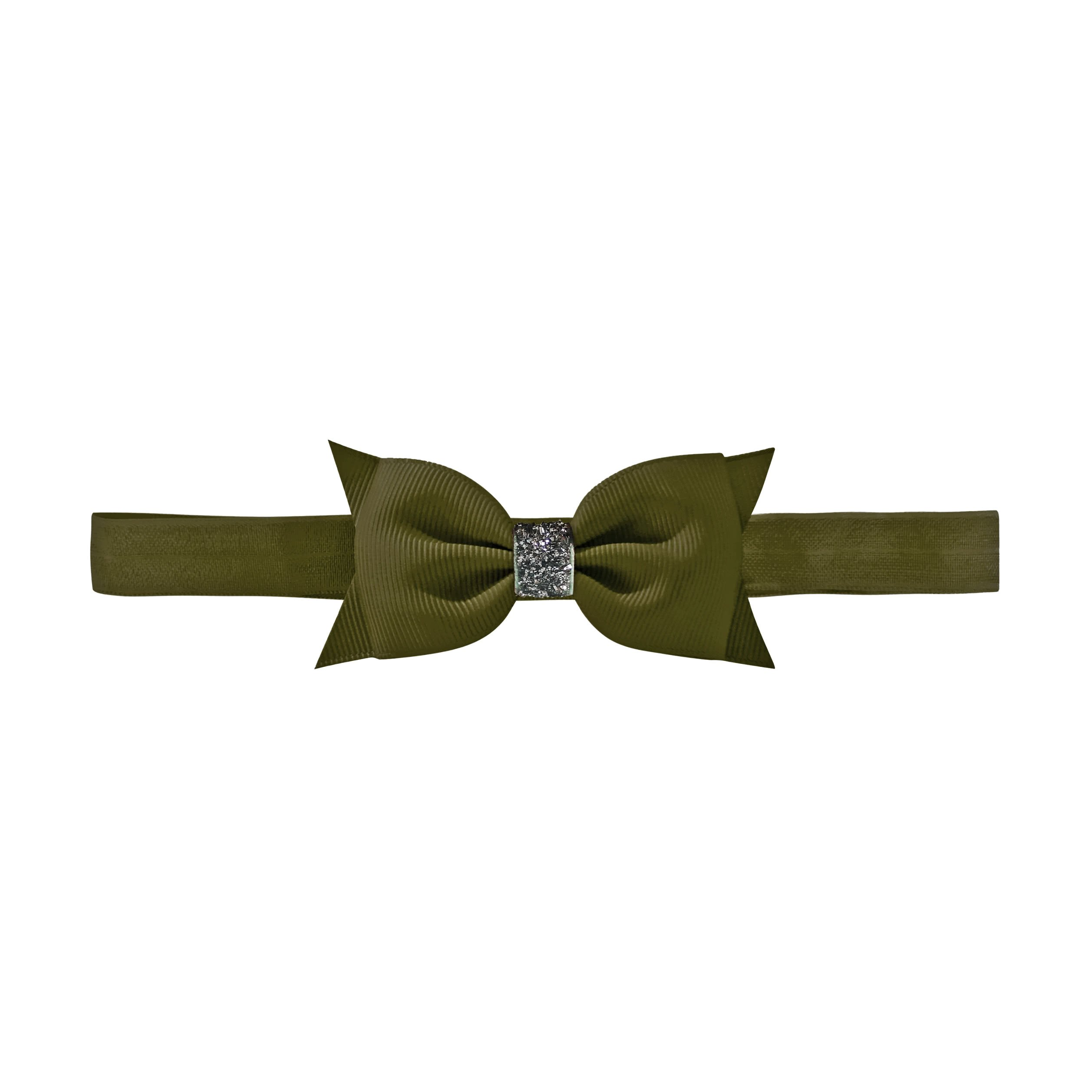 Image of   Double Bowtie bow - elastic hairband - deep sage glitter