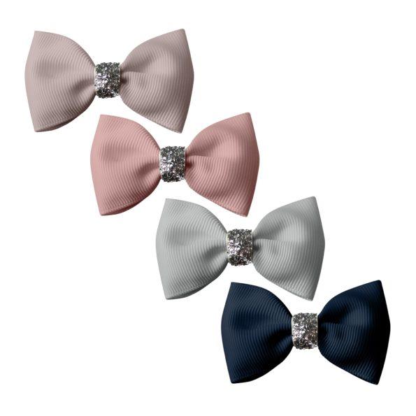 Milledeux Gift set – 4 Small bowtie bows – alligator clip – Glitter various