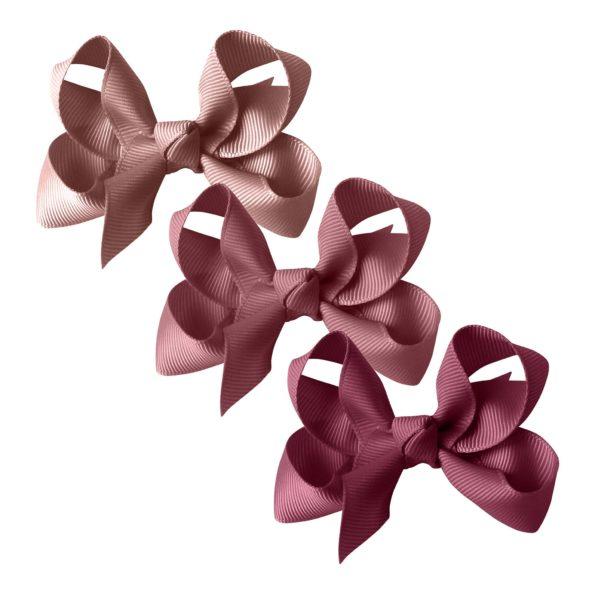 Milledeux gift set – Grosgrain Collection – 3 Medium boutique bows – mauve