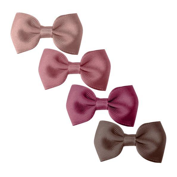 Milledeux Gift set – 4 Small bowtie bows – alligator clip – Mauves