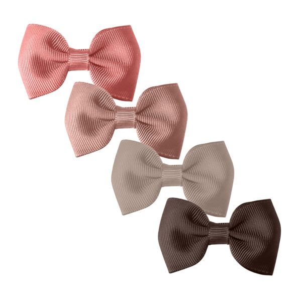 Milledeux Gift set – 4 Small bowtie bows – alligator clip – mauve/beige/chocolate
