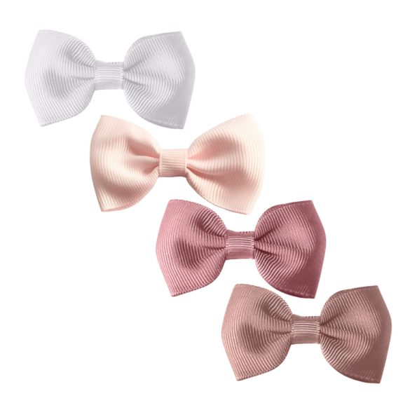 Milledeux Gift set – 4 Small bowtie bows – alligator clip – white/pink