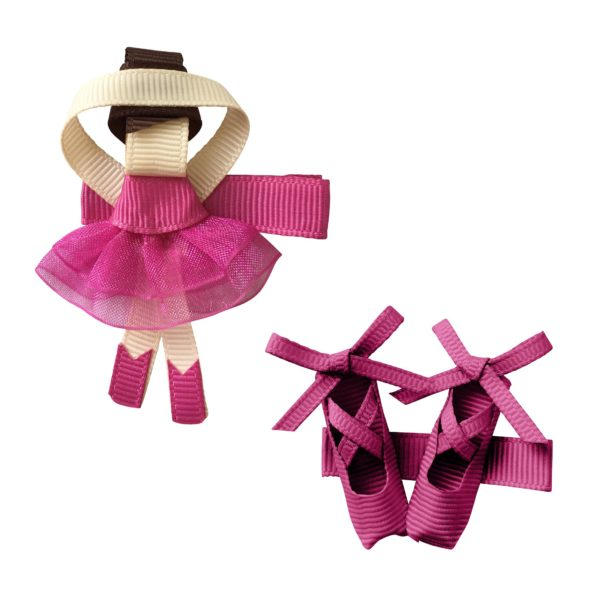 Gift set – Milledeux Ballerina and shoes – alligator clip – raspberry rose