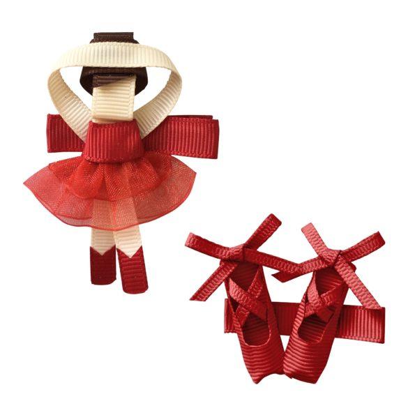Gift set – Milledeux Ballerina and shoes – alligator clip – scarlet