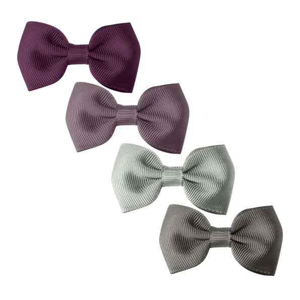 Milledeux Gift set – 4 Small bowtie bows – alligator clip – purple/grey